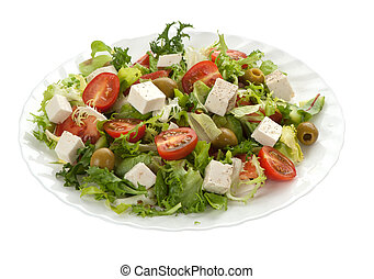 green salad with feta cheese isolated on white