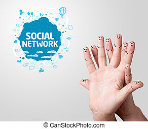 finger smileys with social network sign