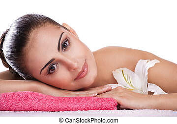 brunette spa woman - Beautiful brunette spa woman lying on...