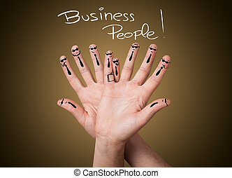 group of happy business finger smileys - Happy group of...