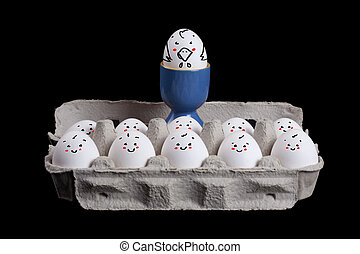 eggs with smiley faces in eggshell with a boss over their...