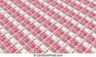 100 RMB bills,Printing Money Animation.