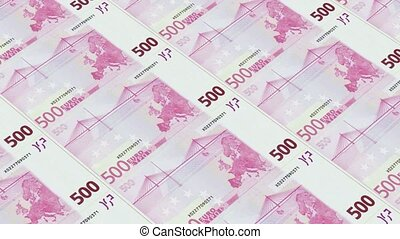 euro bills,Printing Money Animation.