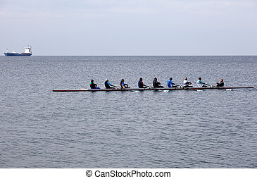 Rowing team on the Trieste sea