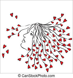 Woman with hearts in hair - abstract illustration