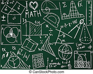 Mathematics icons and formulas on the school board -...