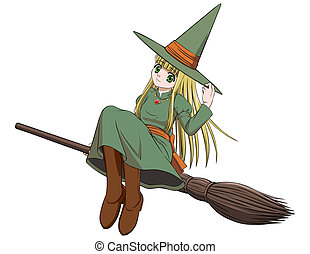 Witch riding a broom - Cute witch on a broomstick in the air...