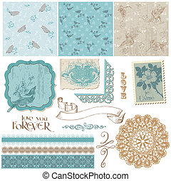Scrapbook Design Elements - Vintage Birds and Flowers