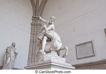 Hercules and Centaur - Statue of Hercules and Centaur of...