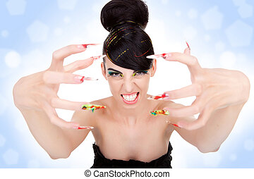 woman showing her big fancy nails - Angry beautiful woman...
