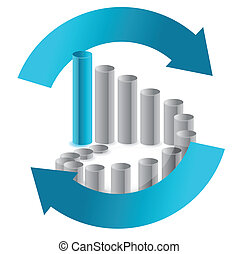 Business chart in arrow cycle illustration design on white