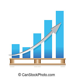 cargo shipping sales graph illustration design