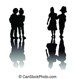 Kids holding hands with reflection