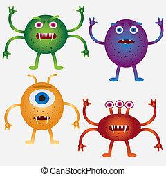 Set of cartoon microbes.