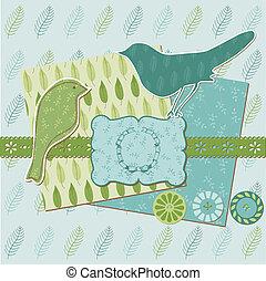Scrapbook Design Elements - Vintage Leaves and Birds