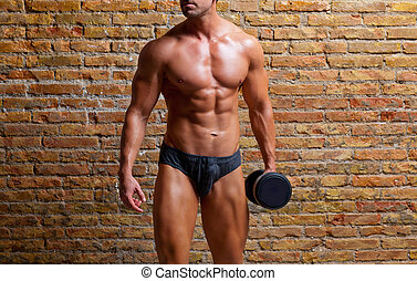 muscle shaped underwear man with weight on gym brickwall