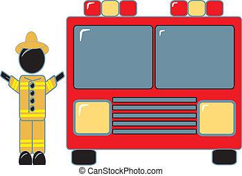 Fireman Standing Beside Fire Truck