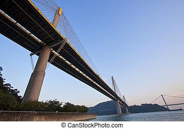 Ting Kau Bridge in Hong Kong at day