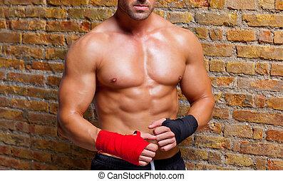 músculo, Boxeador, formado, hombre, puño,...