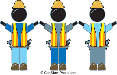 Three Constuction Workers - simple drawing of construction...