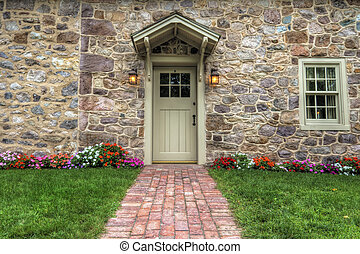 Exterior of a Beautiful Stone Cottage - Path and door...