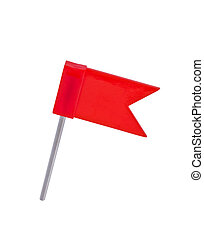 Flag pin red color isolated on white background.