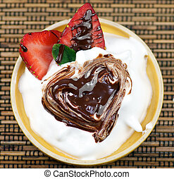 Delicious dessert with strawberry