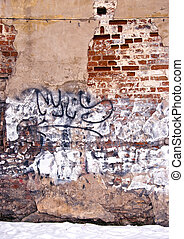 Dilapidated wall background wall paint graffiti -...