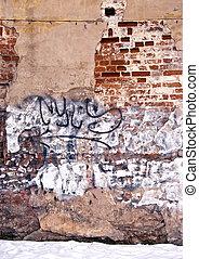 Dilapidated wall background wall paint graffiti -...