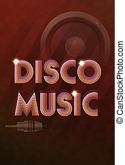 Disco music - illustration of poster with disco