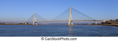Panoramic view of the bridge over the Guadiana River in...
