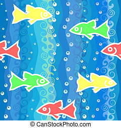 vector seamless background with waves and colorful fish