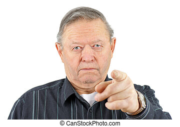Angry senior man pointing