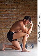 músculo, homem, pensando, pensador, postura