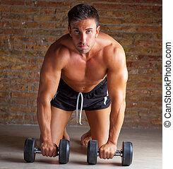 rodillas, entrenamiento, formado, pesas, músculo, hombre