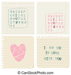 Set of hand-written LOVE CARDS in vector