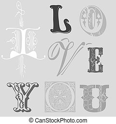 "Vintage Letters ""I LOVE YOU"" Card in vector"