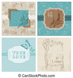 Set of Floral Retro Cards - with frames and place for your text or photo in vector