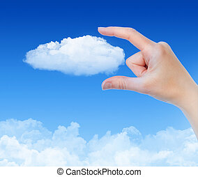 Cloud Computing Concept - Woman hand measures the cloud...