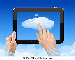 Working With Cloud Computing Concept - Man hand holding...