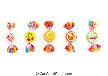 candies - five different candies on white