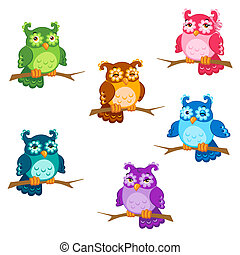 Set of cute six cartoon owls with various emotions in vector