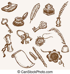 Set of Hand Drawn Vintage Elements - Vintage Letter Set in vector