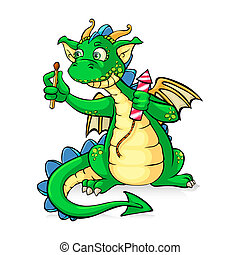 Funnyl green dragon holding fireworks - in vector