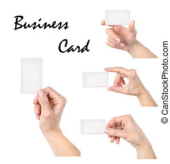 Business card collage - Cut-away to a hand isolated on a...