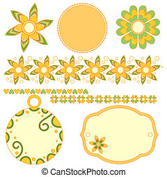 Modern graphics colletion with tags, labels,flowers,hearts