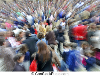 Large group of people. By using a telephoto lens and...