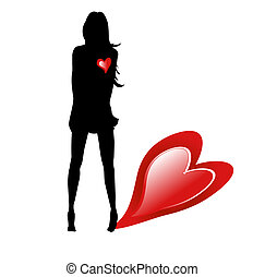 Silhouette woman with hearts on white background