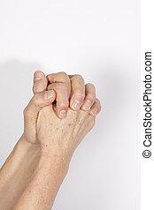 beeld, biddend, handen
