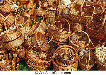 A lot of baskets - Various handmade baskets for sale at a...